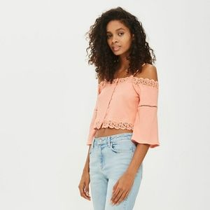8651ae54d95343 Topshop Tops - Topshop cold shoulder bardot top - coral